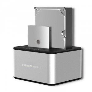 Stacja dokująca Qoltec dysków 2x HDD/SSD | 2.5 / 3.5 SATA | USB 3.0 | Klonowanie