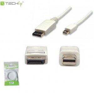 Kabel DisplayPort Techly ICOC MDP-020 Mini DisplayPort/DisplayPort M/M, 2m, biały