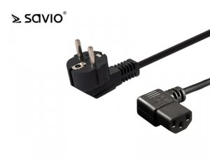 Kabel zasilający IEC C13 kątowy - C/F Schuko kątowy 1,2 M Savio CL-115