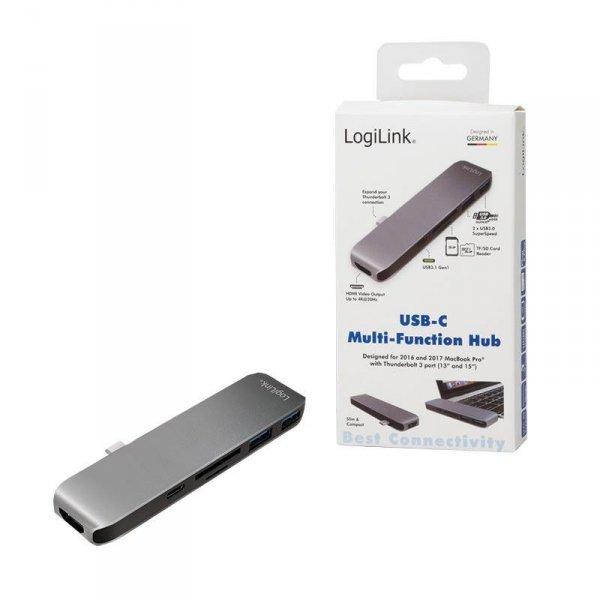 Hub USB-C LogiLink UA0301 wielofunkcyjny 6 w 1, aluminiowy