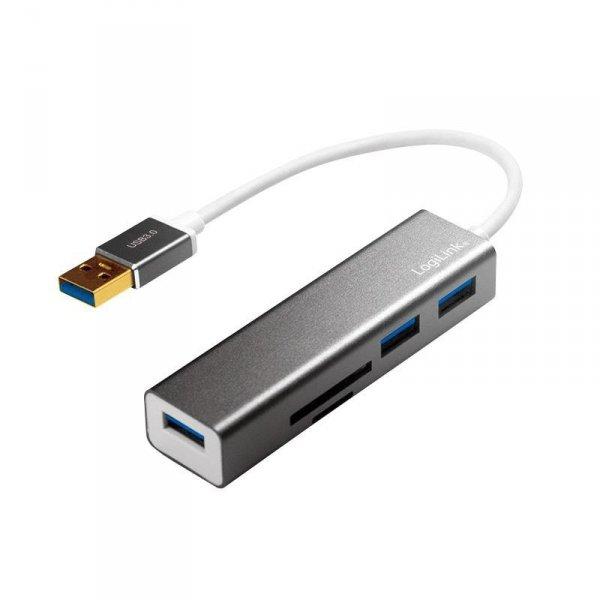 Hub USB 3.0 LogiLink UA0306 3 porty USB, z czytnikiem kart