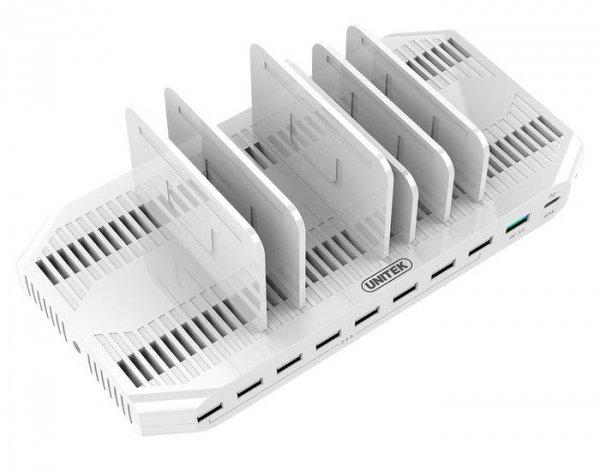 Stacja ładująca Unitek Y-2190, 10 x USB; QC3.0; USB-C Power Delivery; 160W