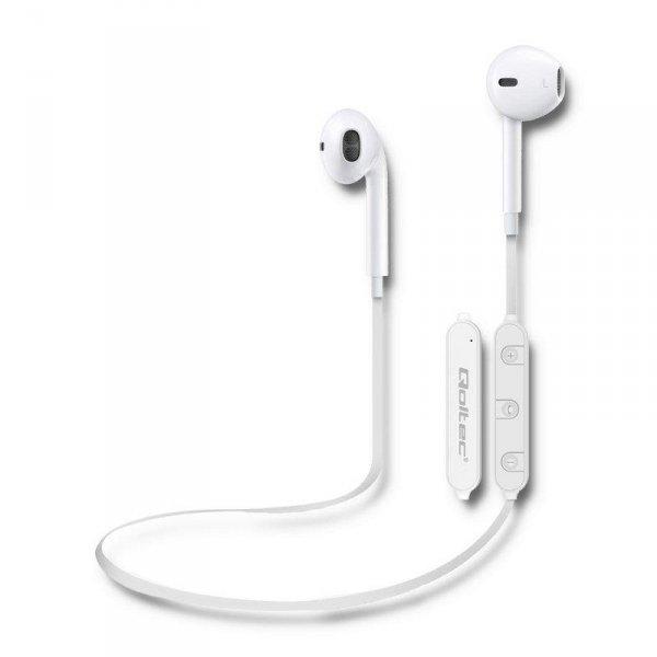 Słuchawki z mikrofonem Qoltec bezprzewodowe BT sportowe dokanałowe   Białe
