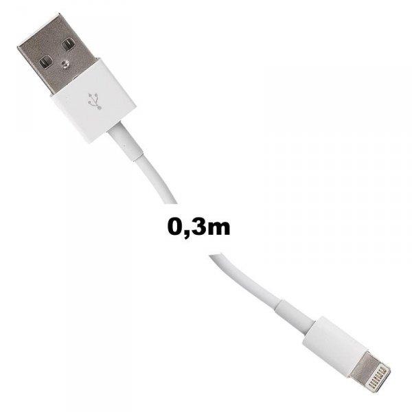 Whitenergy Kabel USB 2.0 do iPhone 5 transfer/ładowanie 30cm biały