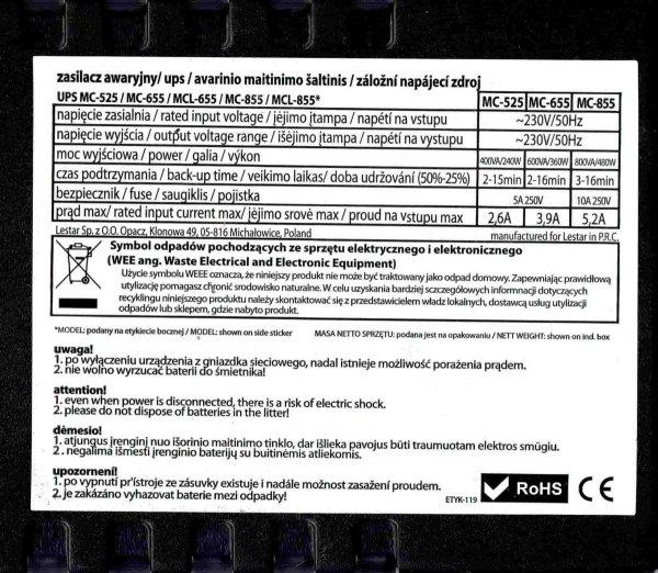 UŻYWANY Zasilacz awaryjny UPS Lestar MC-655ssu Line-Interactive AVR 2xSCH 600VA/360W