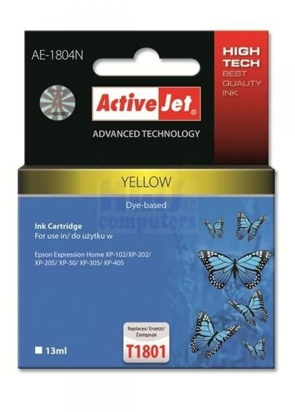 Tusz Yellow zamiennik Epson T1804 XP-102/202/305 ActiveJet  AE-1804N