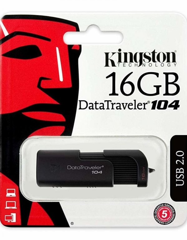 Kingston flash disk 16GB DT104 USB 2.0 black