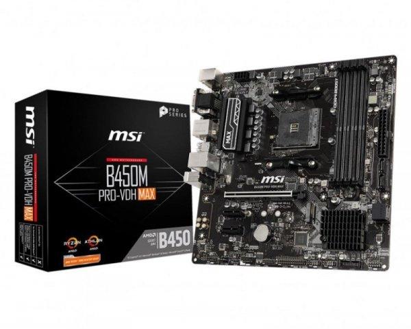Płyta MSI B450M PRO-VDH MAX/DDR4/M.2/USB3.1/PCIe3.0/AM4/mATX