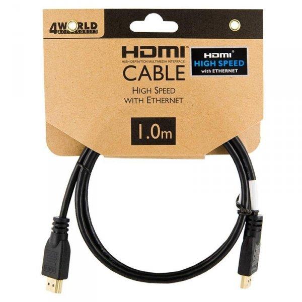 Kabel HDMI - HDMI, High Speed z Ethernet (v1.4), 3D, HQ, BLK, 1m