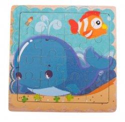 Puzzle drewniane układanka delfin 12el. 15x15 cm