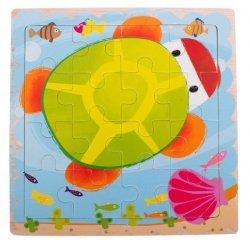 Puzzle drewniane układanka żółw 12el. 15x15 cm