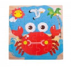 Puzzle drewniane układanka krab 12el. 15x15 cm