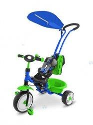 Rowerek trójkołowy BOBY DELUXE zielono-niebieski - nowoczesny design