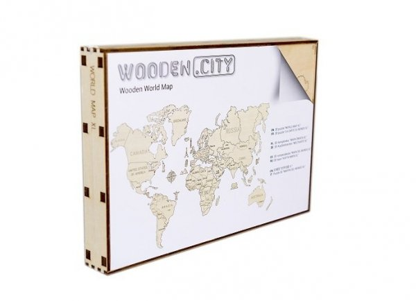 Drewniane puzzle 3D Wooden.City - Mapa Świata XXL Coral  #T1