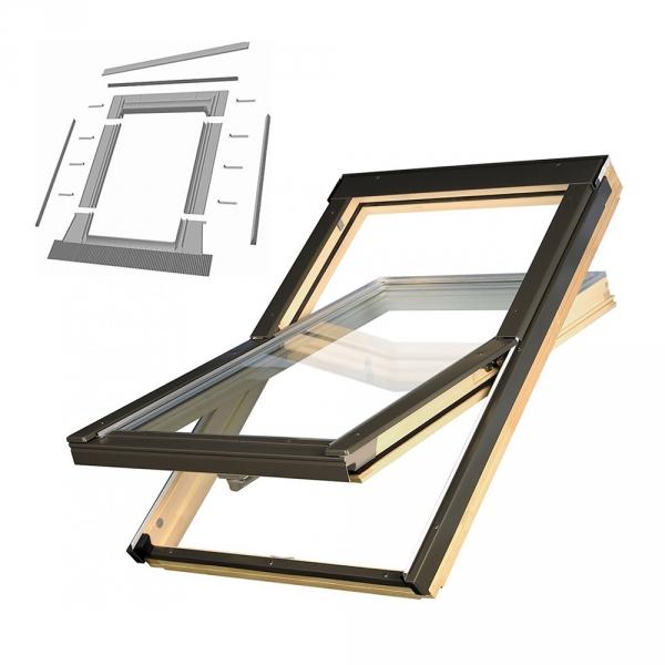 KOMPLET: Okno dachowe OPTILIGHT 78x98 VB+ NAWIEWNIK + KOŁNIERZ