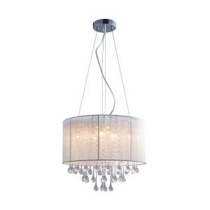 ZUMA LINE RLD92174-8A VERONA LAMPA WISZĄCA Z KRYSZTAŁKAMI BIAŁY ABAŻUR