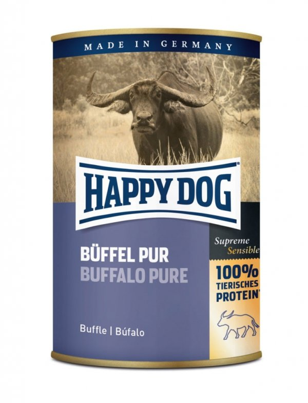 6x Happy Dog Buffel Puszka 100% Bawół 400g