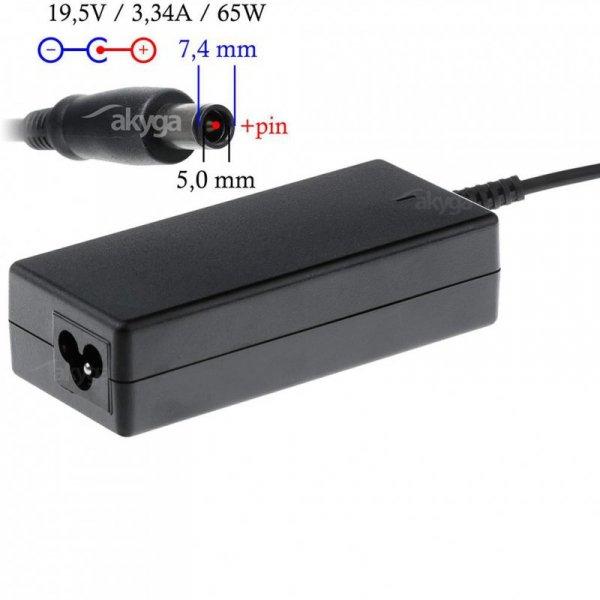 Zasilacz sieciowy Akyga AK-ND-05 do notebooka 19,5V/3,34A 65W 7.4x5.0mm + pin