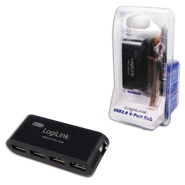 Hub USB LogiLink UA0085 4xUSB 2.0, aktywny, czarny