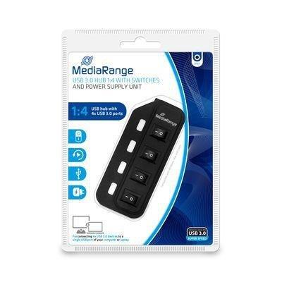 Hub USB MediaRange MRCS505 4xUSB 3.0 Black