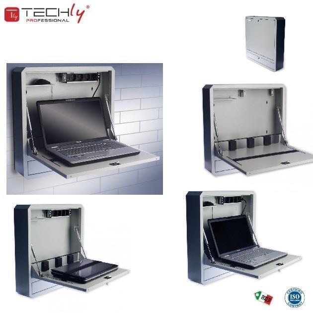 """Szafka przeciw kradzieżowa TechlyPro do notebooka (do 19"""") ścienna, szara"""