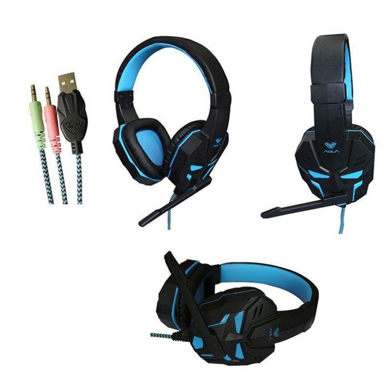 Słuchawki z mikrofonem Acme Aula Prime Gaming czarno-niebieskie