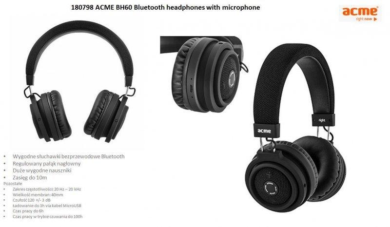 Słuchawki z mikrofonem Acme BH60 bezprzewodowe Bluetooth czarne