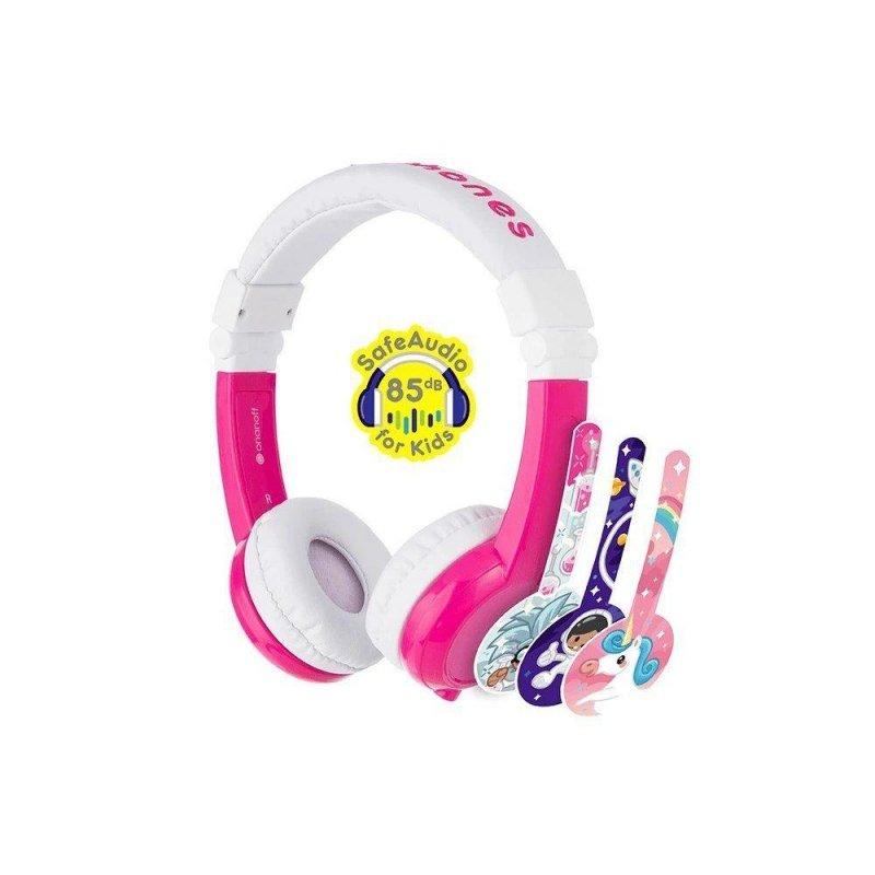 Słuchawki z mikrofonem BuddyPhones Explore Pink dla dzieci 85dB