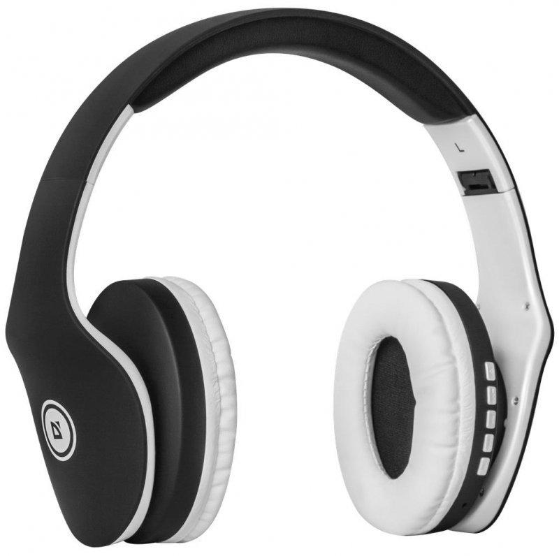 Słuchawki z mikrofonem Defender FREEMOTION B525 bezprzewodowe Bluetooth + MP3 Player czarno-białe