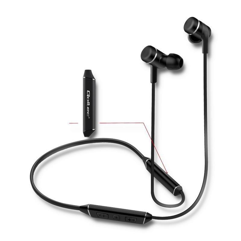 Słuchawki z mikrofonem Qoltec bezprzewodowe BT magnetyczne dokanałowe sportowe | long life | Czarne