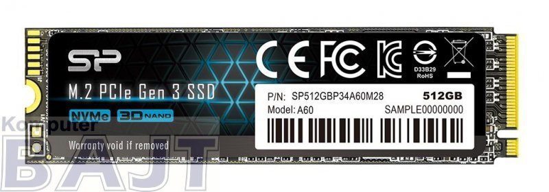 Dysk SSD Silicon Power Ace A60 SP512GBP34A60M28 (512 GB ; M.2; PCIe NVMe 3.0 x4)