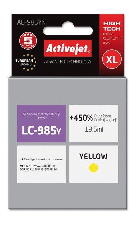 Tusz Activejet AB-985YN (zamiennik Brother LC985Y; Supreme; 19,5 ml; żółty)