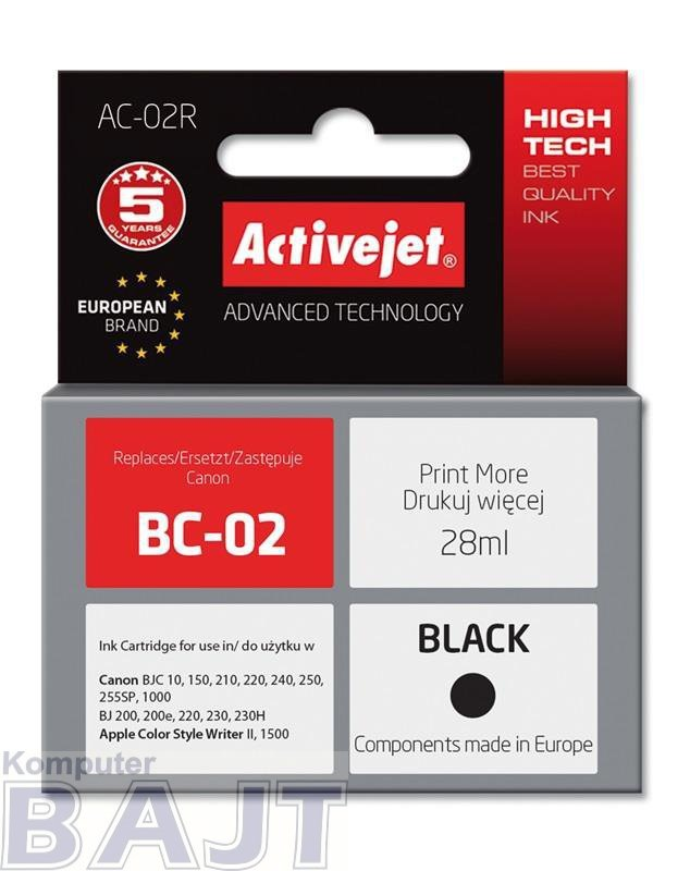 Tusz Activejet AC-02R (zamiennik Canon BC-02; Premium; 28 ml; czarny)