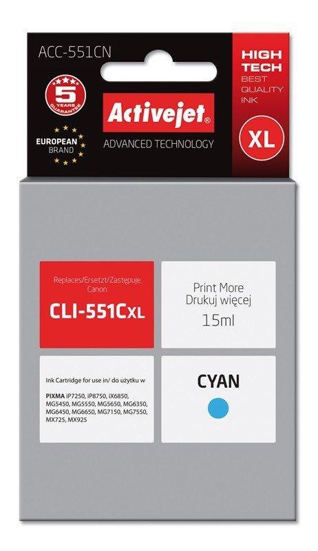 Tusz Activejet ACC-551CN (zamiennik Canon CLI-551C; Supreme; 15 ml; niebieski)