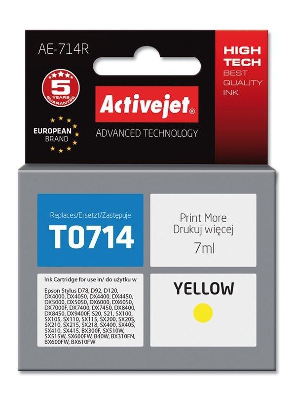 Tusz Activejet AE-714R (zamiennik Epson T0714, T0894, T1004; Premium; 7 ml; żółty)