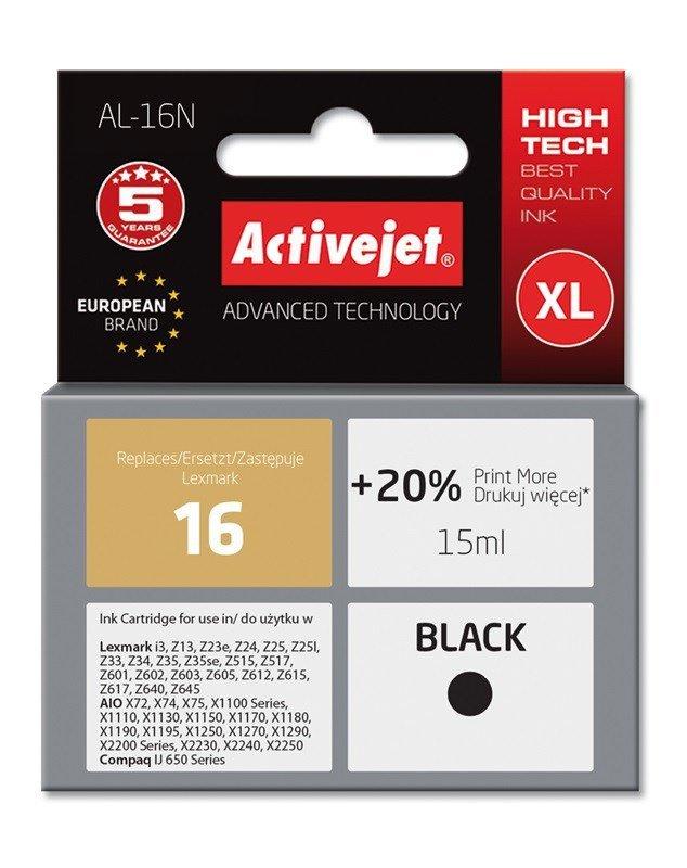 Tusz Activejet AL-16N (zamiennik Lexmark 16 10N0016; Supreme; 15 ml; czarny)