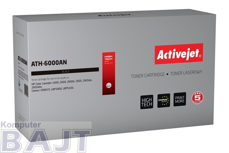 Toner Activejet ATH-6000AN (zamiennik HP 124A Q6000A, Canon CRG-707B; Premium; 2500 stron; czarny)