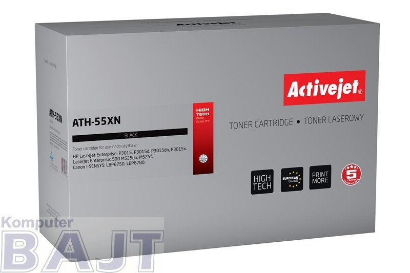 Toner Activejet ATH-55XN (zamiennik HP 55X CE255X, Canon CRG-724H; Premium; 12500 stron; czarny)