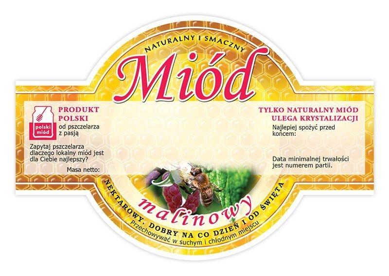 Paczka etykiet okrągłych na miód malinowy (100szt)