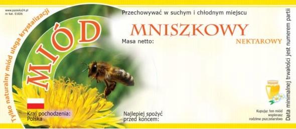Paczka etykiet na miód mniszkowy – 100 szt