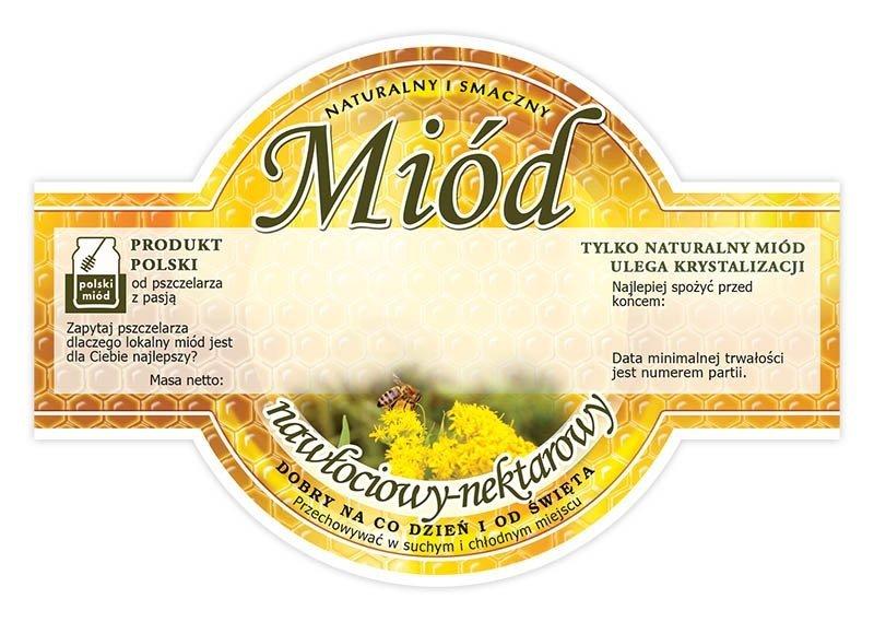 Paczka etykiet okrągłych na miód nawłociowy (100szt)