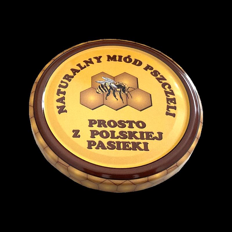 """Duża nakrętka - """"naturalny miód pszczeli"""" - (82 mm/100szt)"""