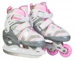 Rolki i łyżwy dla dzieci 2w1 - kolor różowy - roz. S (31-34)