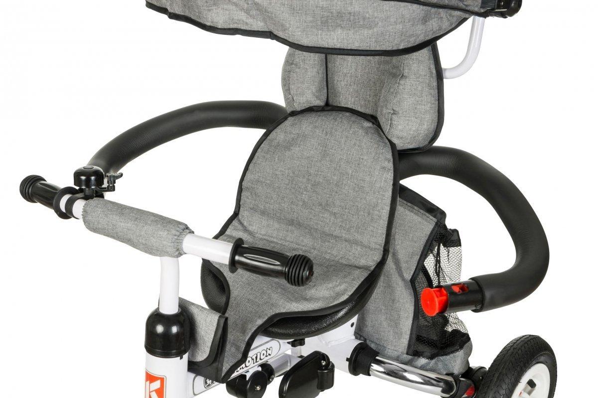 Rowerek trójkołowy -  kolor szary. Pomowane koła, obracane siedzisko