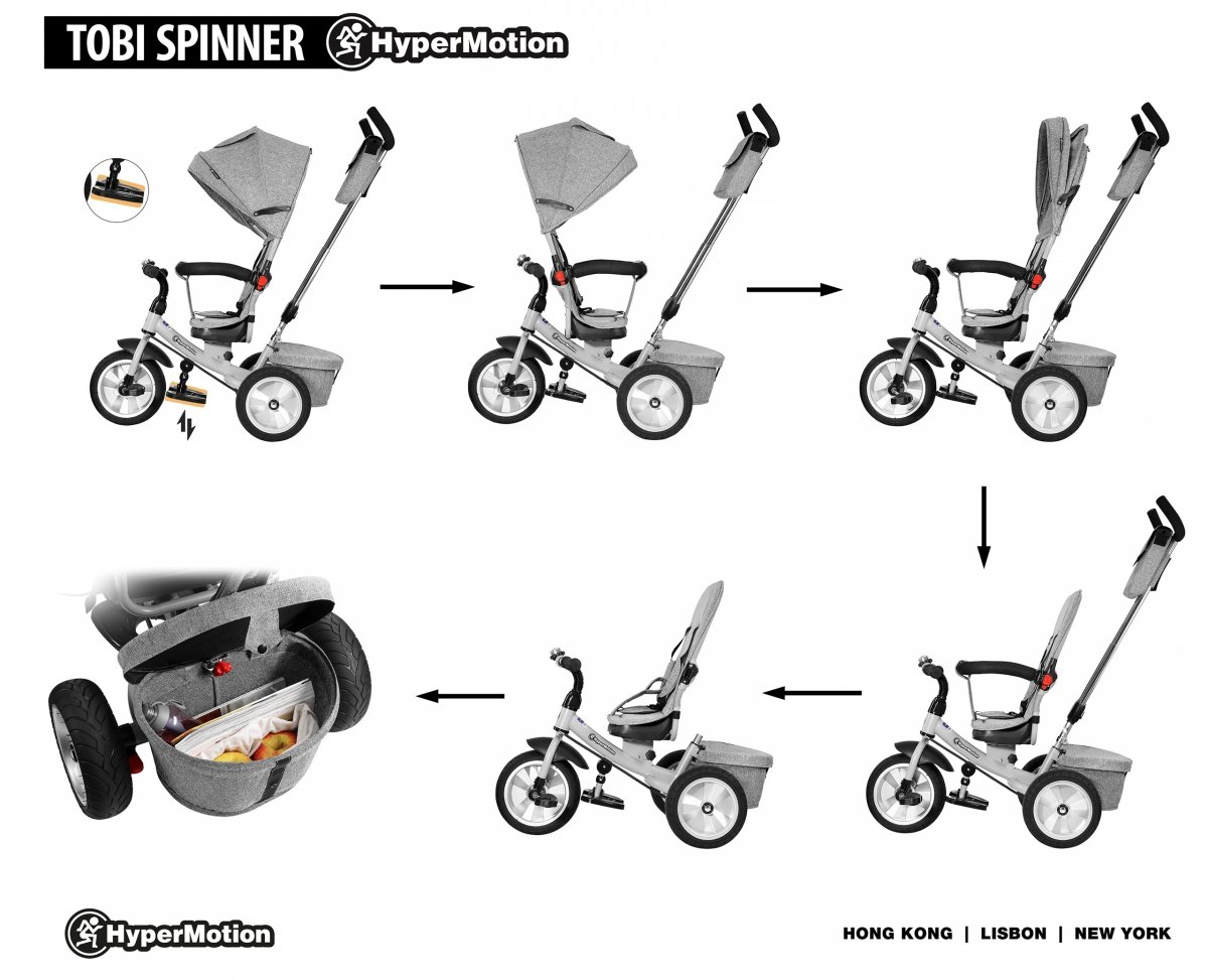 Rowerek trójkołowy Tobi Spiner - kolor szary - pompowane koła