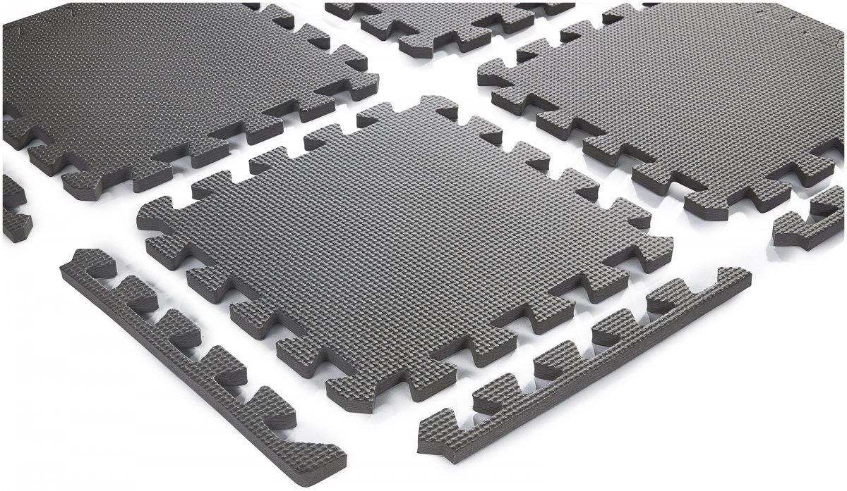 Piankowe puzzle 12szt. - piankowa mata edukacyjna 120 x 90 x 1.2cm z obrzeżem - różowa