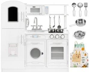 Drewniana biała kuchnia akcesoria i fartuszek
