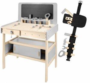 Drewniany warsztat dla dzieci z akcesoriami ,kredową tablicą 48 elementów