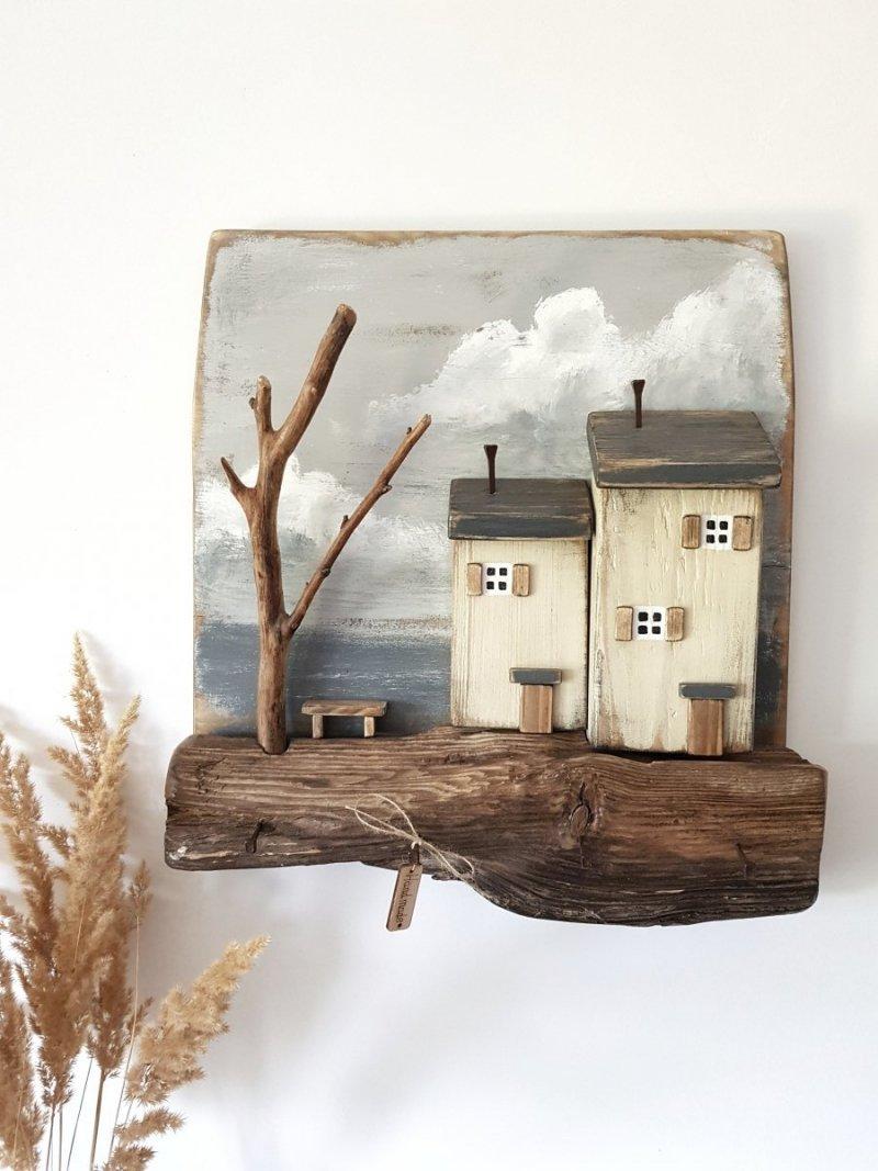 Drewniany wieszak na klucze domki stara belka