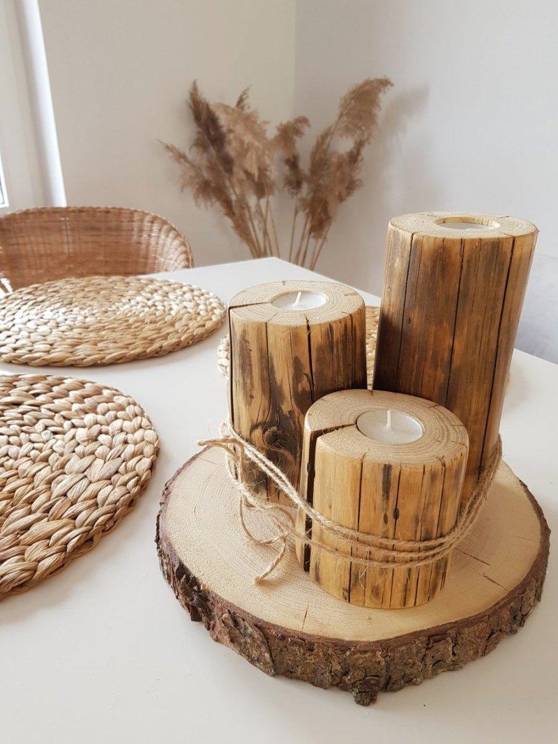 Zestaw 3 drewnianych świeczników